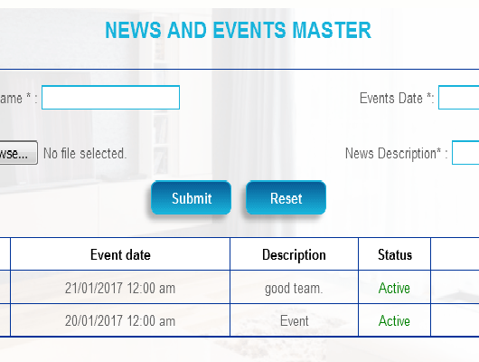 News and Events Master